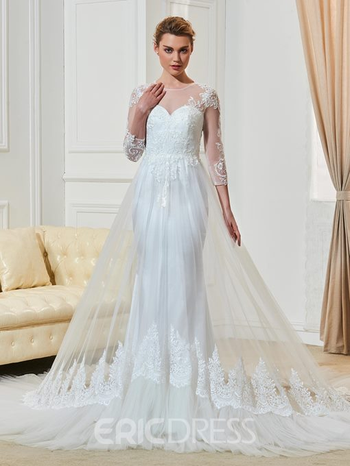 Ericdress Fashionable Jewel Appliques 3/4 Length Sleeves Sheath Wedding Dress
