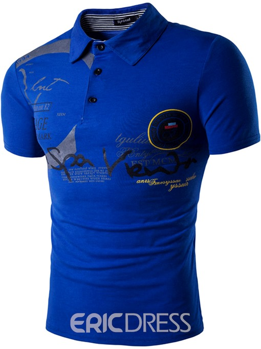 Ericdress Casual Print Short Sleeve Slim Men's Polo T-Shirt