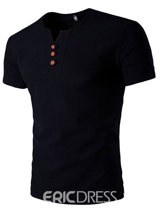Ericdress Plain V-Neck Mens Straight T-shirt