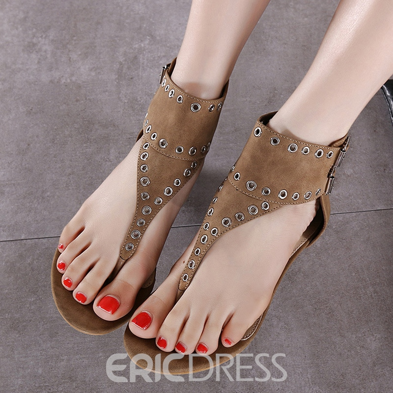 Ericdress Roman Buckles Clip Toe Flat Sandals