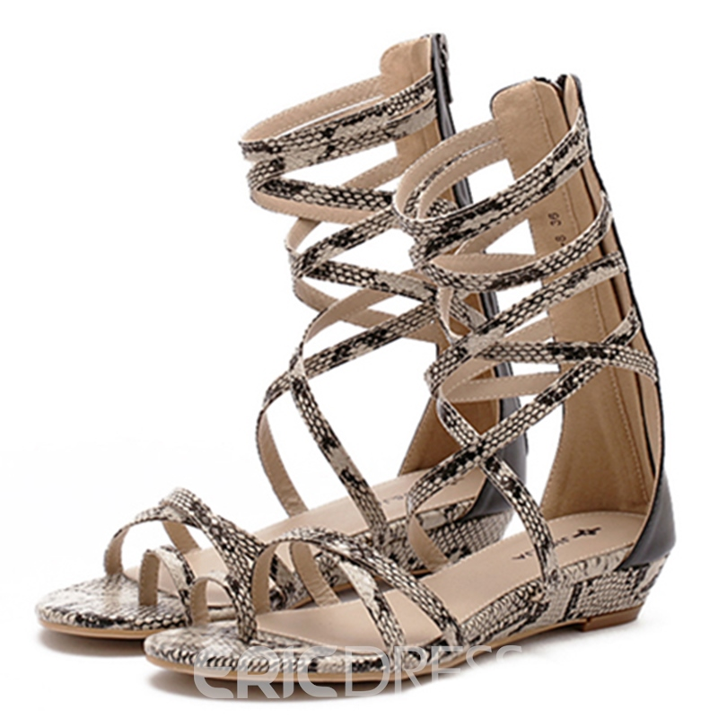 Ericdress Roman Snake Print Toe Ring Cross Strappy Flat Sandals
