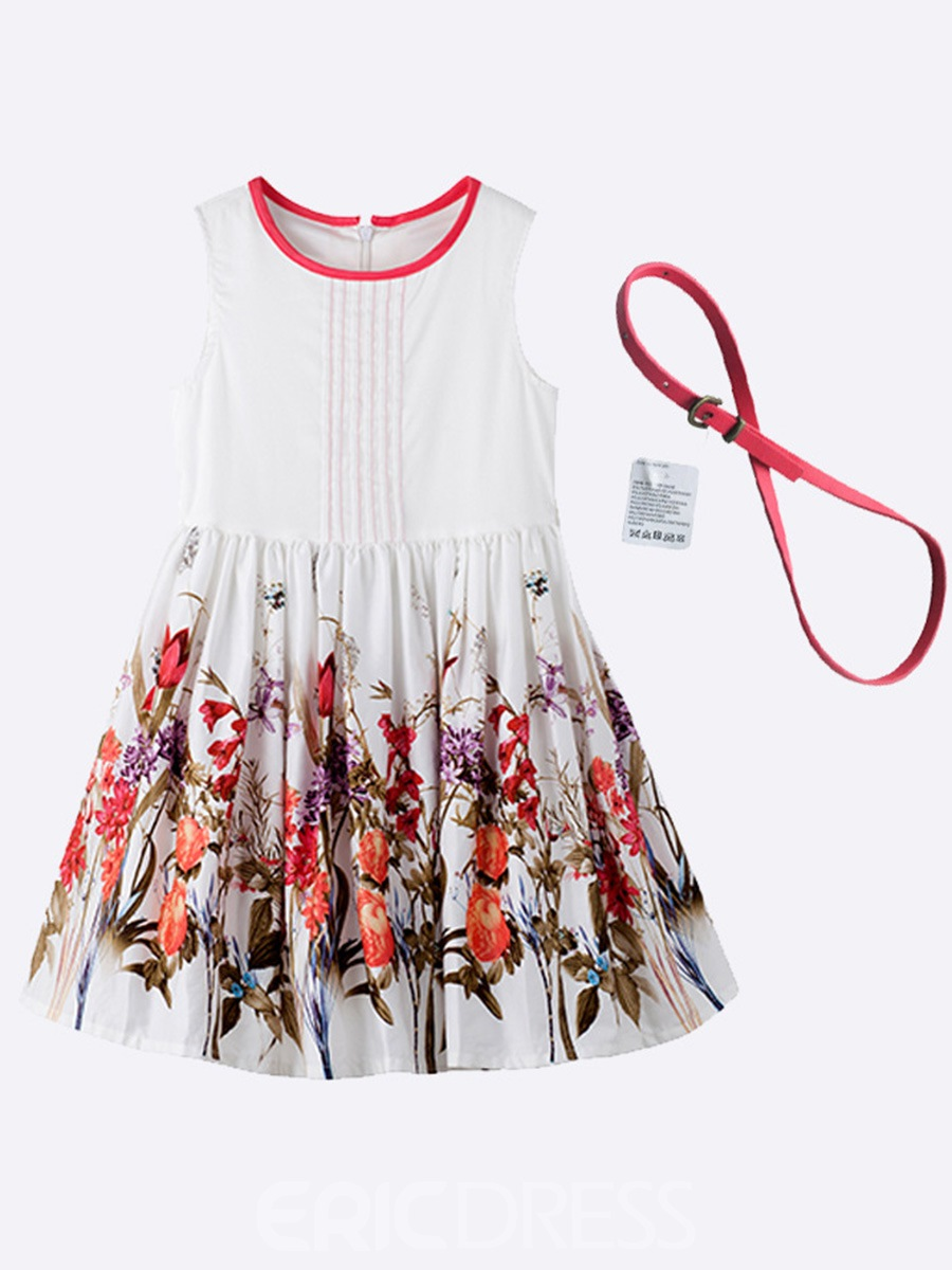 Ericdress Print Zipper Belt Sleeveless Dress