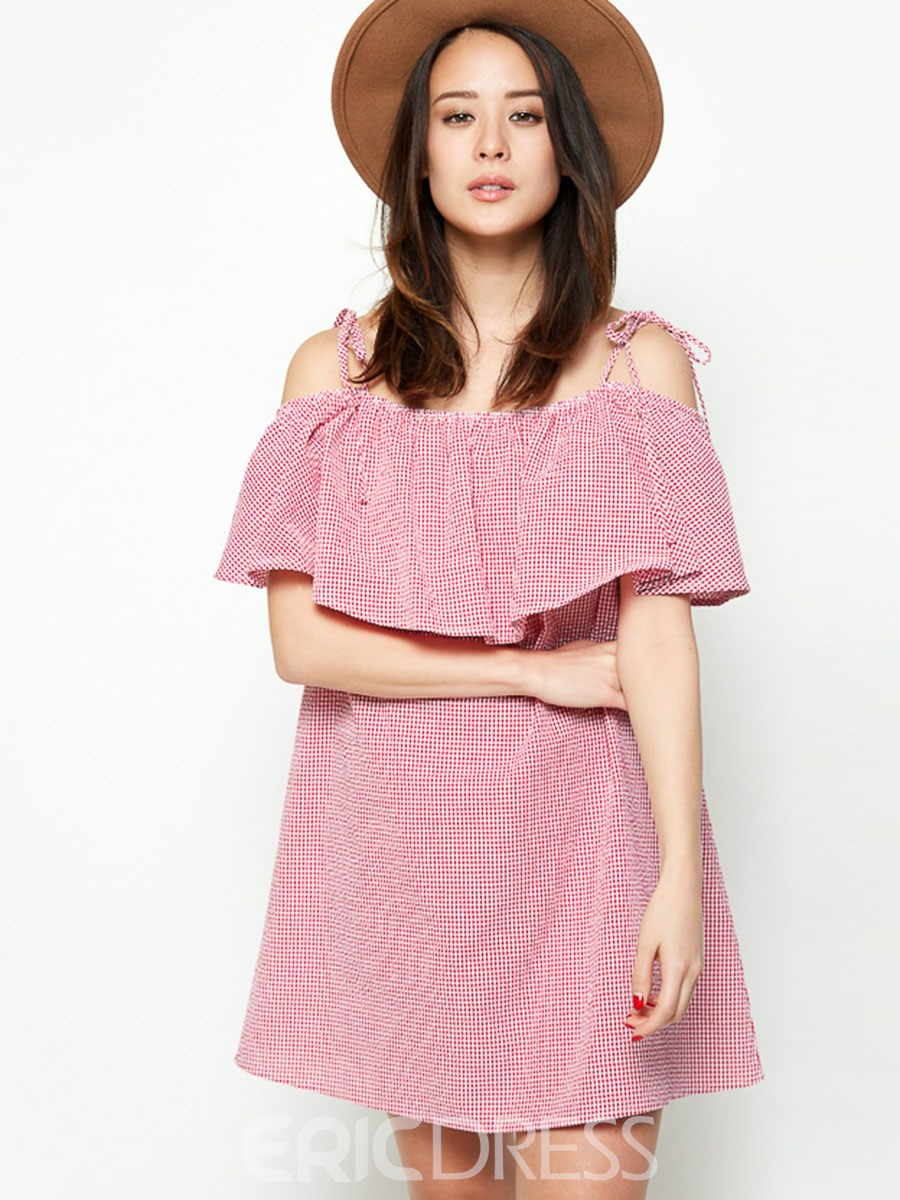 Ericdress Lace-Up Patchwork Falbala Casual Dress