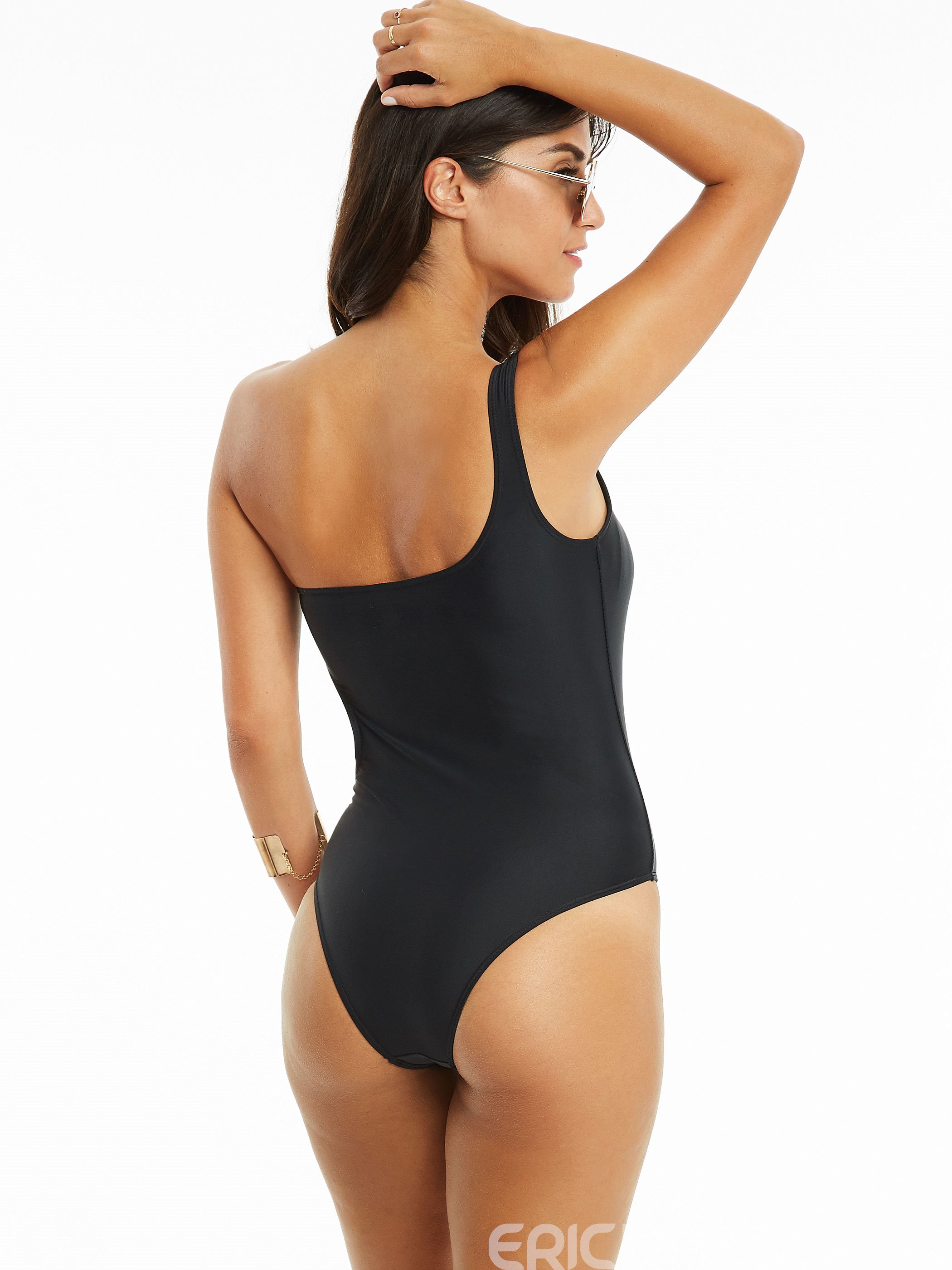 Ericdress Simple One Shoulder Asymmetric One-Piece Swimsuit