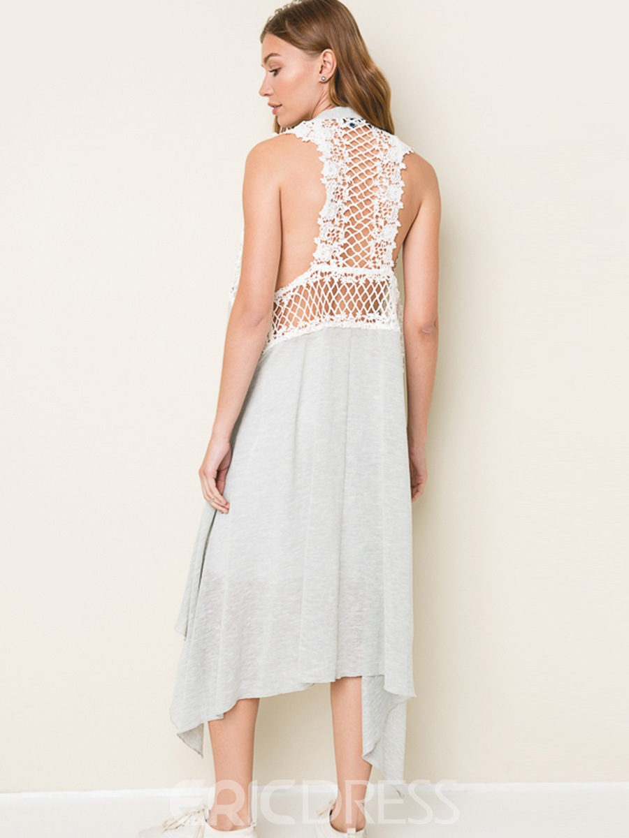 Ericdress Lace Hollow Mid-Length Sleeveless Coat