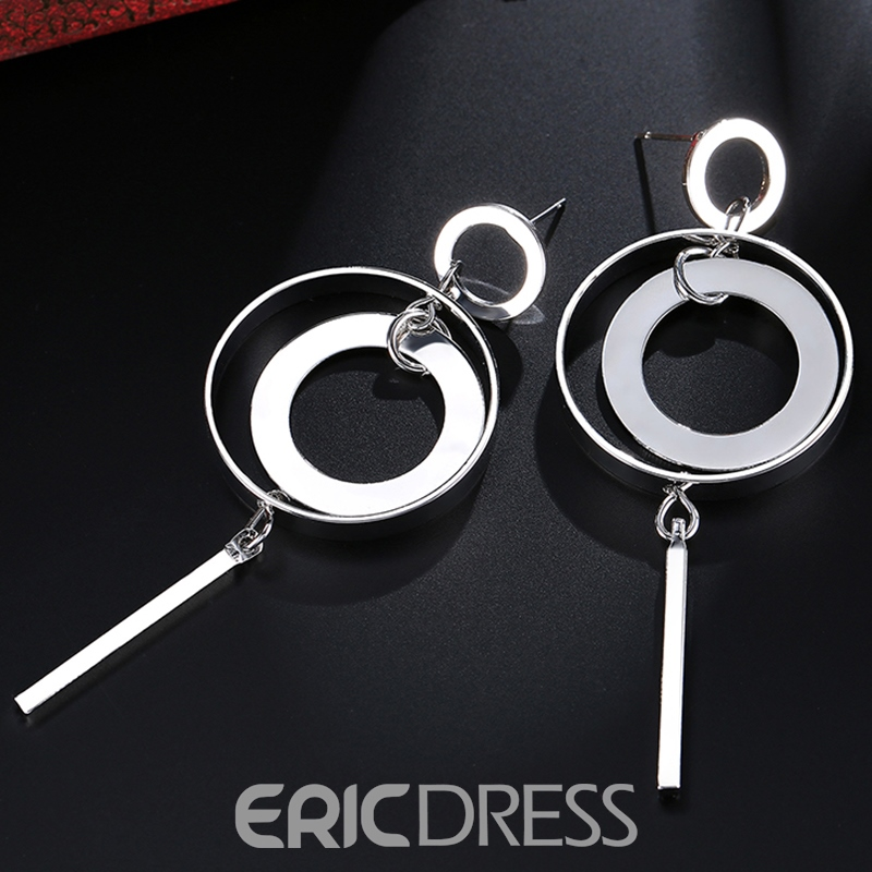 Ericdress Personality Circle Design Long Alloy Earrings