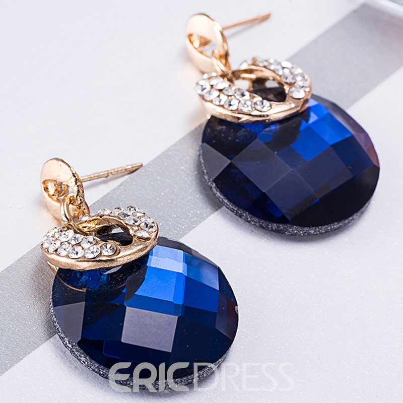 Ericdress Blue Rhinestone Glass European Style Women's Earrings