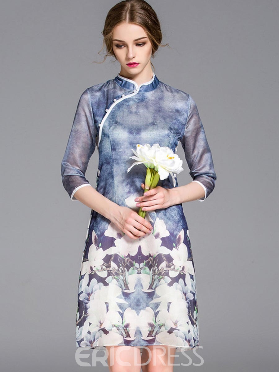 Ericdress Mandarin Collar Floral Hemming Casual Dress