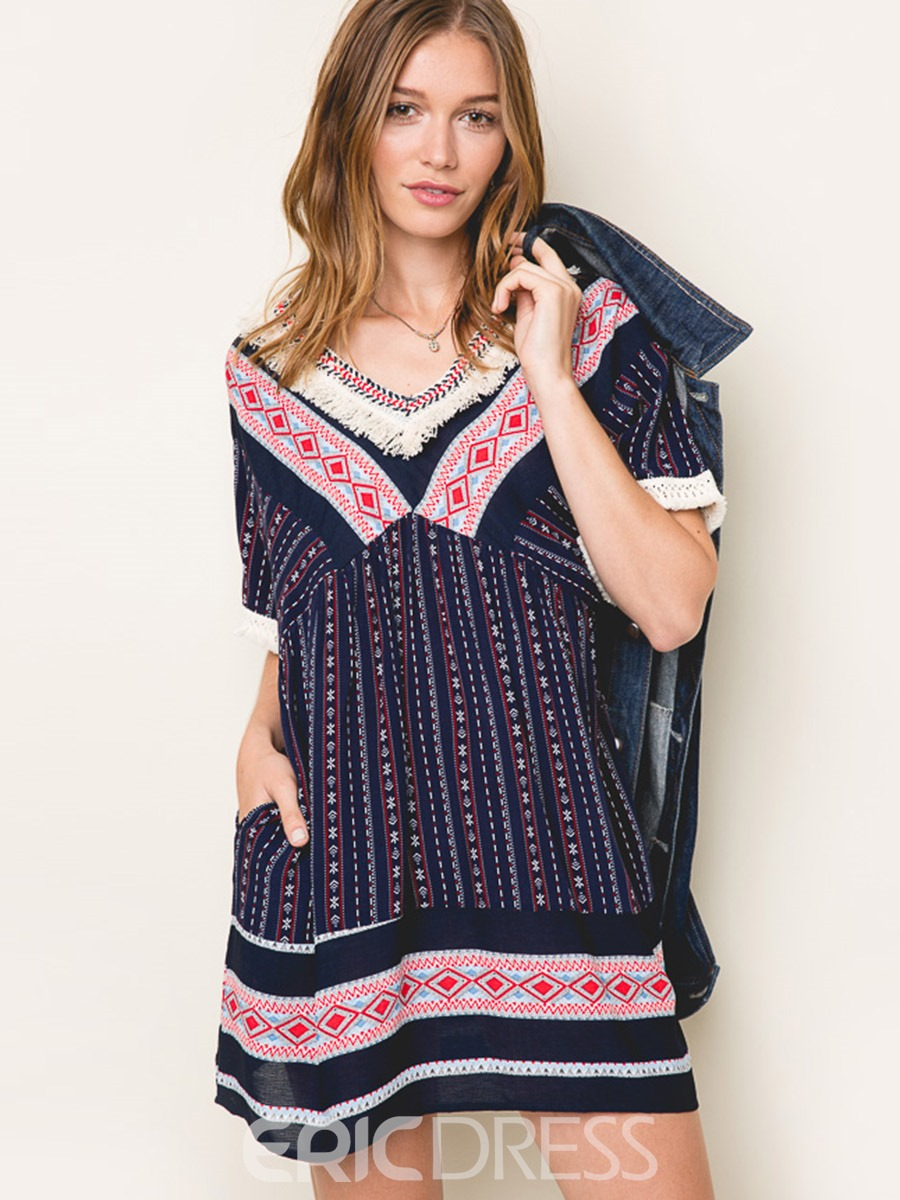 Ericdress Bohemian Tassel Patchwork Loose Casual Dress