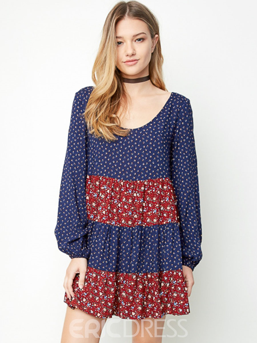 Ericdress Lace-Up Floral Print Round Collar Casual Dress