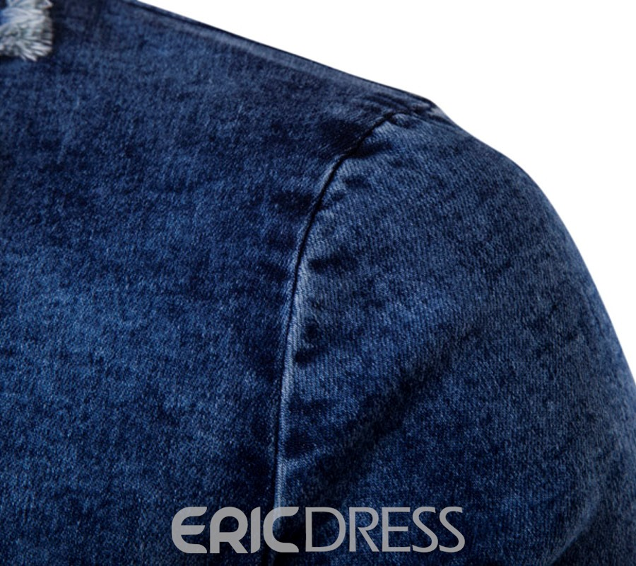 Ericdress Notched Lapel Single-Breasted Casual Men's Denim Blazer