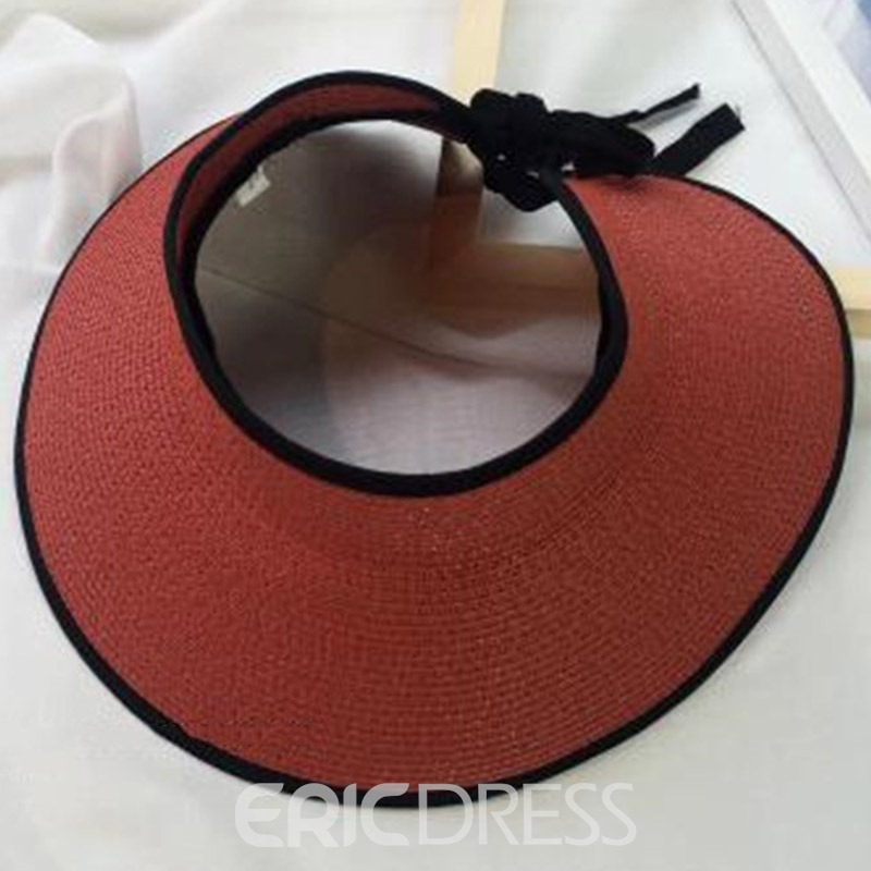Ericdress Casual Outdoor Visor Crown Summer Straw Hat