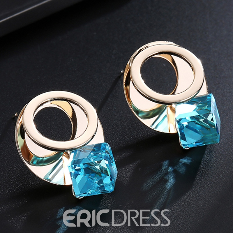 Ericdress Charming Blue Rhinestone Inlaid Alloy Stud Earrings