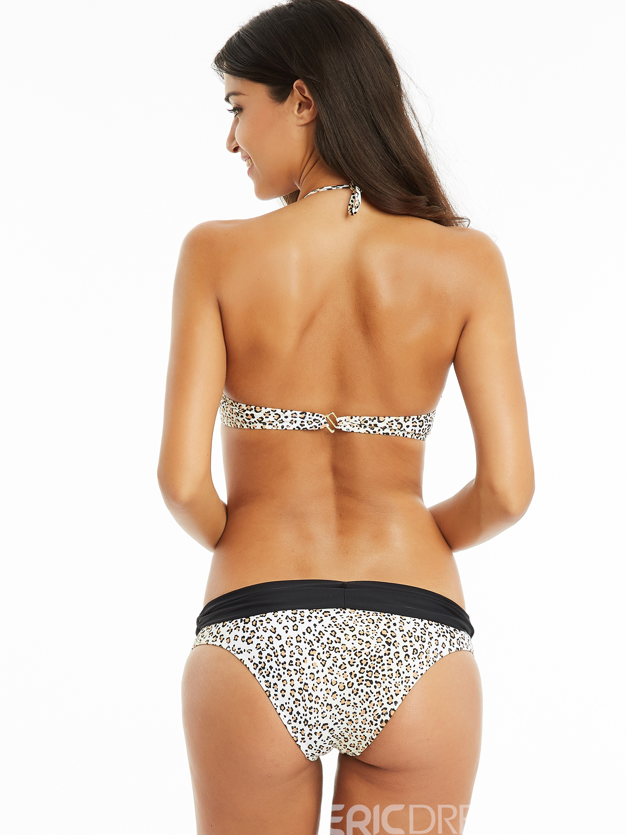 Ericdress Lace-Up Leopard Bowknot Bikini Set