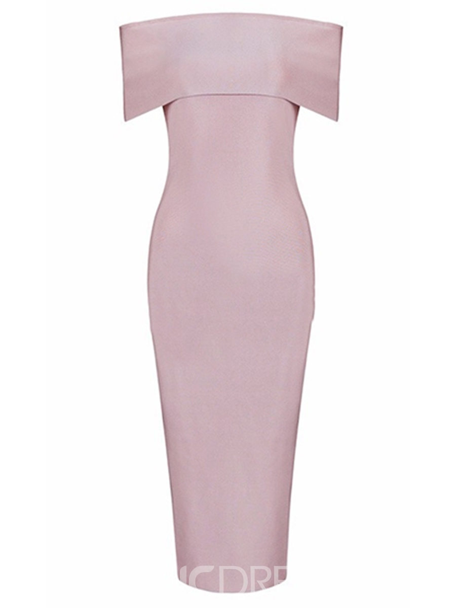 Ericdress Slash Neck Solid Color Zipper Bodycon Dress