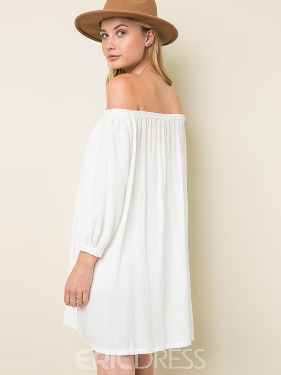Ericdress Bohemian Slash Neck Pleated Casual Dress