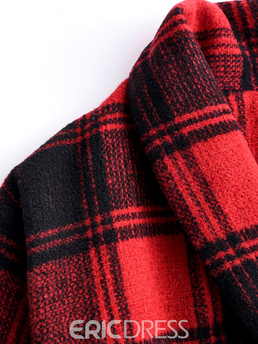Ericdress Loose One-Button Plaid Coat