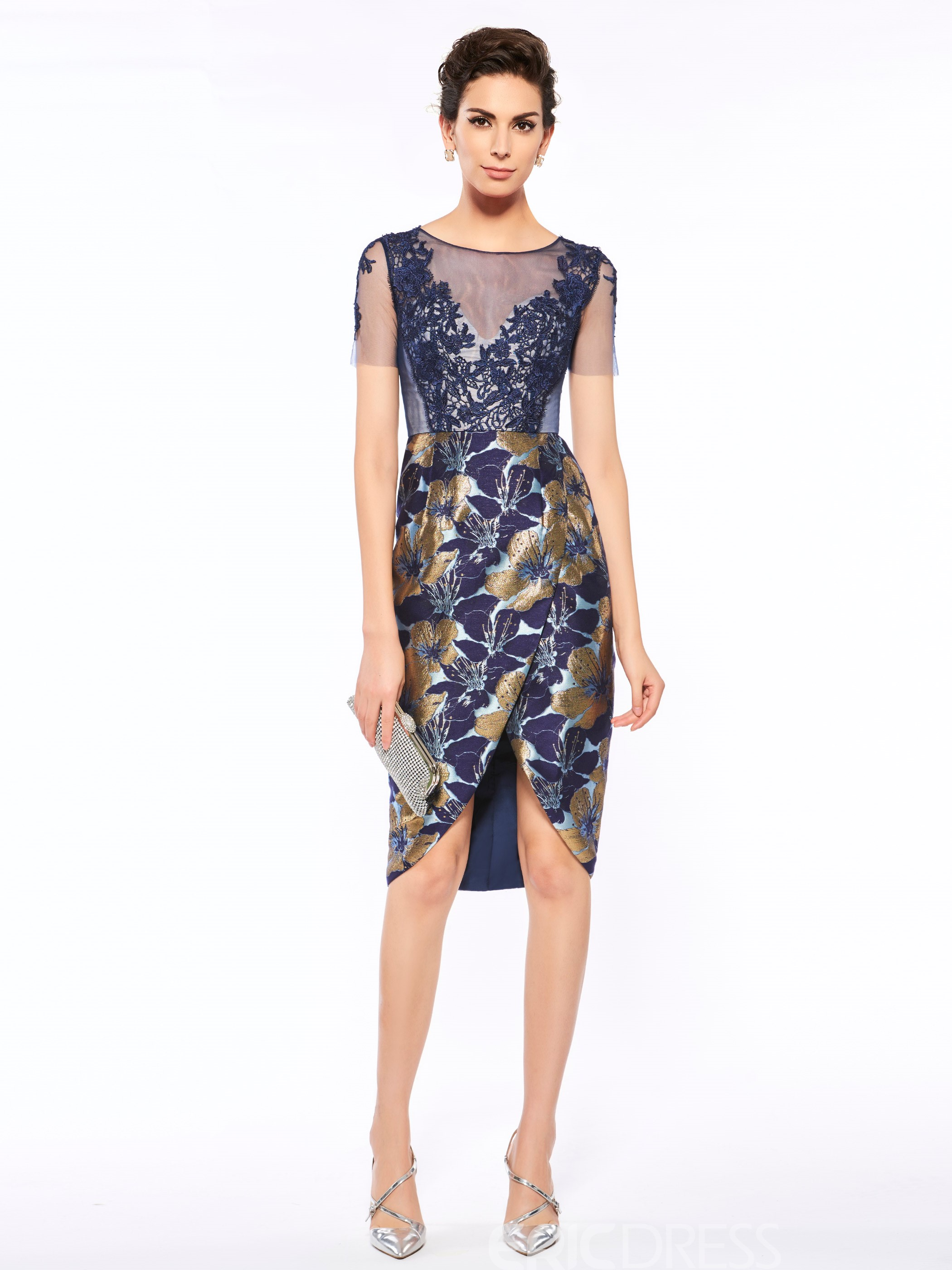 Ericdress Fashionable Scoop Short Sleeves Printed Sheath Mother Of The Bride Dress