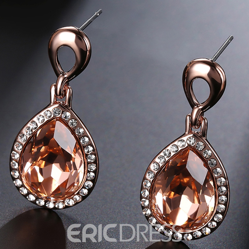 Ericdress Champagne Water Drop Shaped Rhinestone Pendant Earrings