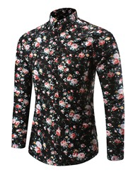 Ericdress Lapel Long Sleeve Floral Print Mens Casual Shirt