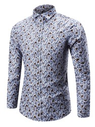 Ericdress Casual Floral Print Long Sleeve Mens Shirt