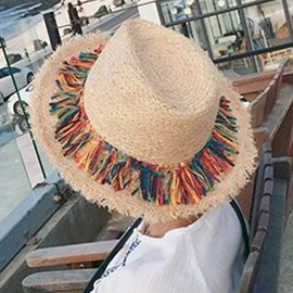 Ericdress Colorful Tassels Design Sunscreen Straw Hat