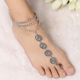 Ericdress Bohemian Three Layers Carved Alloy Anklet
