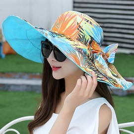 Ericdress Wide Brim Plants Printed Two-Sided Design Sun Hat