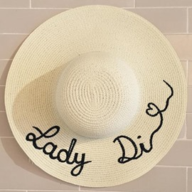 Ericdress Letters Embroidery Wide Brim Straw Hat