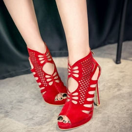 Ericdress Pretty Suede Cut Out Stiletto Sandals