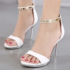Ericdress All Match Patent Leather Metal Decorated Stiletto Sandals
