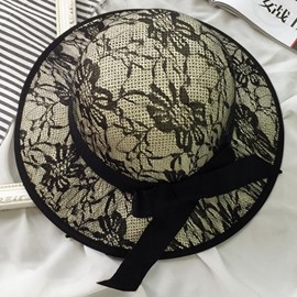 Ericdress Black Lace Decorated Dome Design Straw Hat