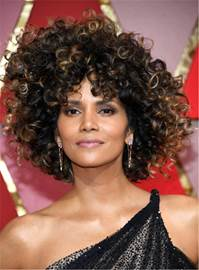 Ericdress Halle Berry Mixed Color Kinky Curly Synthetic Hair With Bangs Medium Tight Coils Capless Wig 12 Inches
