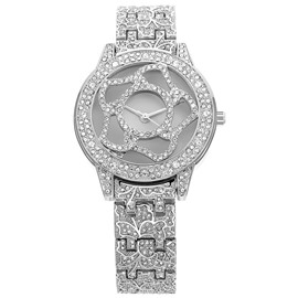 Ericdress Silver Color Diamante Flower Waterproof Women's Watch