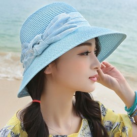 Ericdress Artistic Sunscreen Bowknot Design Straw Hat
