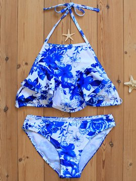 Ericdress Delicate Ceramic Print Lace-Up Bikini Set