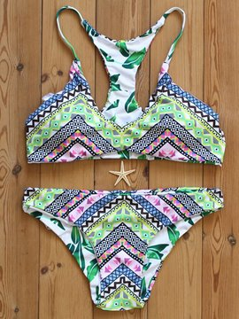Ericdress Exquisite Duplex Printing Color Block Bikini Set
