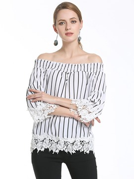 Ericdress Stripped Slash Loose Blouse