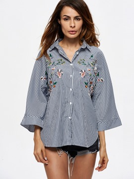Ericdress Stripe Lapel Embroidery Blouse