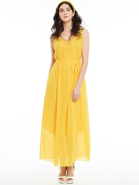Ericdress Round Neck Beading Decorative Maxi Dress