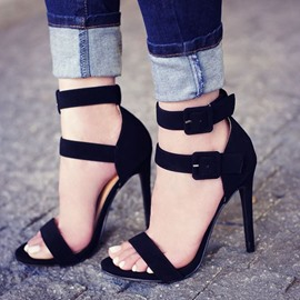 Ericdress Black Buckles Open Toe Stiletto Sandals