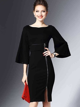 Ericdress Flare Sleeve Zipper Patchwork Sheath Dress