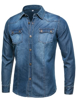Ericdress Denim Pocket Casual Style Men's Shirt