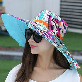 Ericdress Colorful Printed Two-Sided Anti-UV Sun Hat