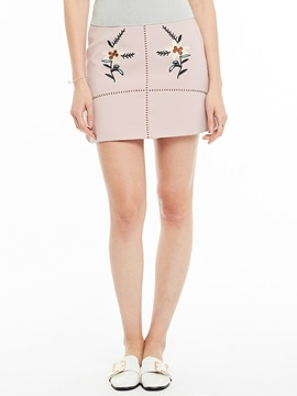 Floral Embroidery Plain Mini Skirt