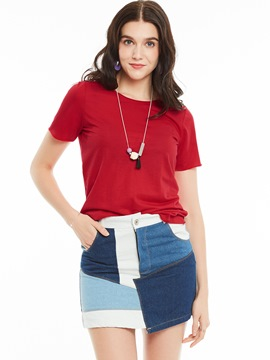Ericdress Slim Round Neck Plain T-shirt