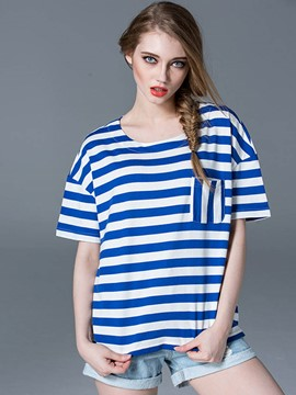 Ericdress Round Neck Stripped T-Shirt