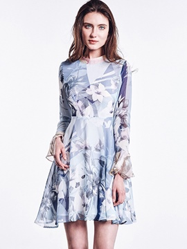 Ericdress Floral Print Falbala Asymmetrical A Line Dress