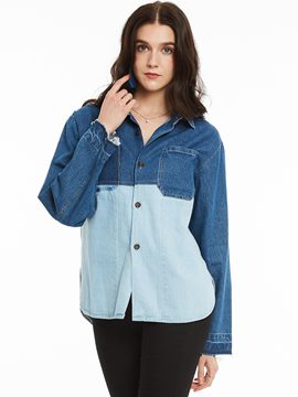 Ericdress Casual Color Block Denim Outerwear