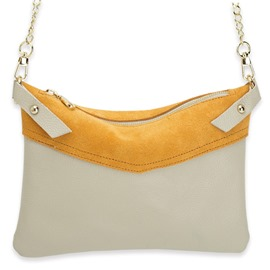 Ericdress Contrast Color Frosted Leather Crossbody Bag